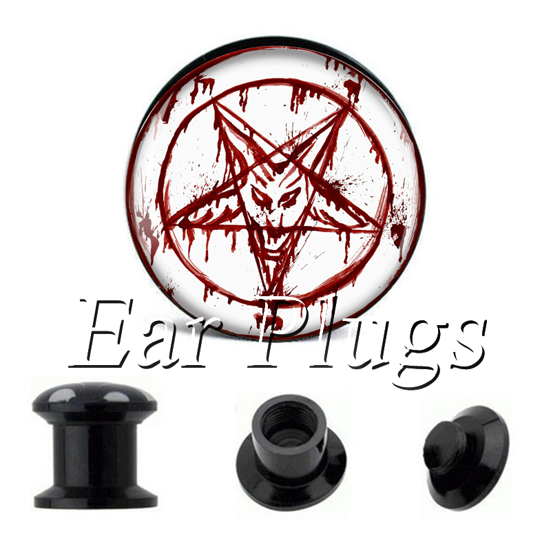 Wholesale Red Goat plug gauges acrylic screw ear plug flesh tunnel piercing body jewelry ...