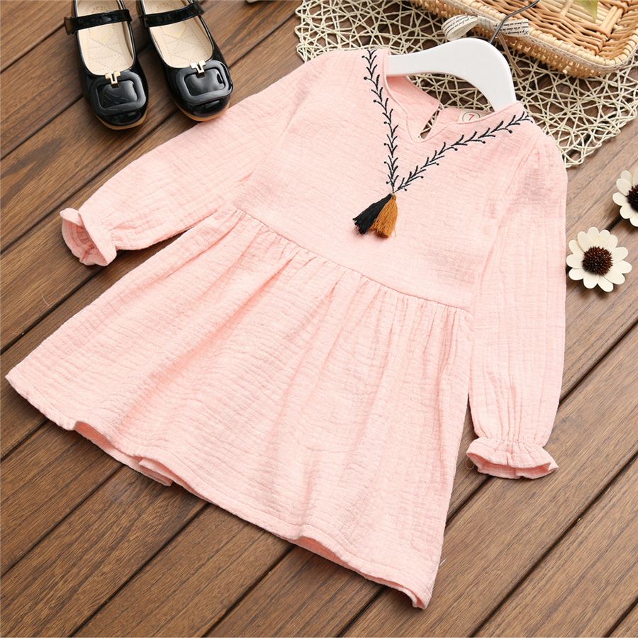 New 2017 Children Kids Girl Casual Dresses Spring Summer Girls Dress Princess Linen Cotton Mini Dresses Kid Baby Clothes 70C1038