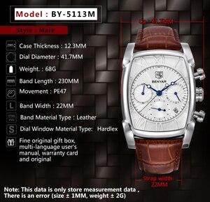 Image 3 - BENYAR แฟชั่น Chronograph นาฬิกาผู้ชายกันน้ำ 30M สายคล้องคอหนังแท้คลาสสิกสี่เหลี่ยมผืนผ้านาฬิกาควอตซ์