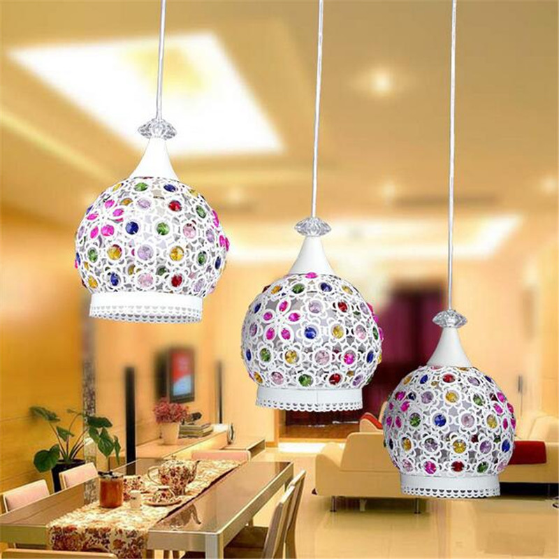 Exotic Creative Southeast Asia White Iron Colorful K9 Crystal Led Pendant Light for Dining Room Bar Restaurant AC 80-265V 1364 dia 56cm creative wooden chinese style dining room chandeliers black or natural bamboo japanese southeast asia pendant lamps