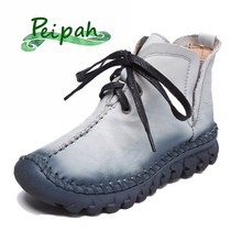 PEIPAH Handmade Retro Women Boots Genuine Leather Ankle Boots For Woman Casual Lace-up Cow Leather Shoes Women Autumn Boots shangmsh floral ankle boots for women winter genuine leather women s boots retro handmade comforable shoes footwear large size