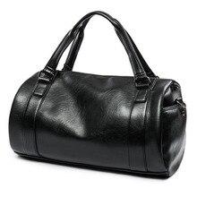 Vintage Black Men Travel Bag Hand Luggage PU Leather Duffel Bags Large Capacity Sports Handbag Weekend