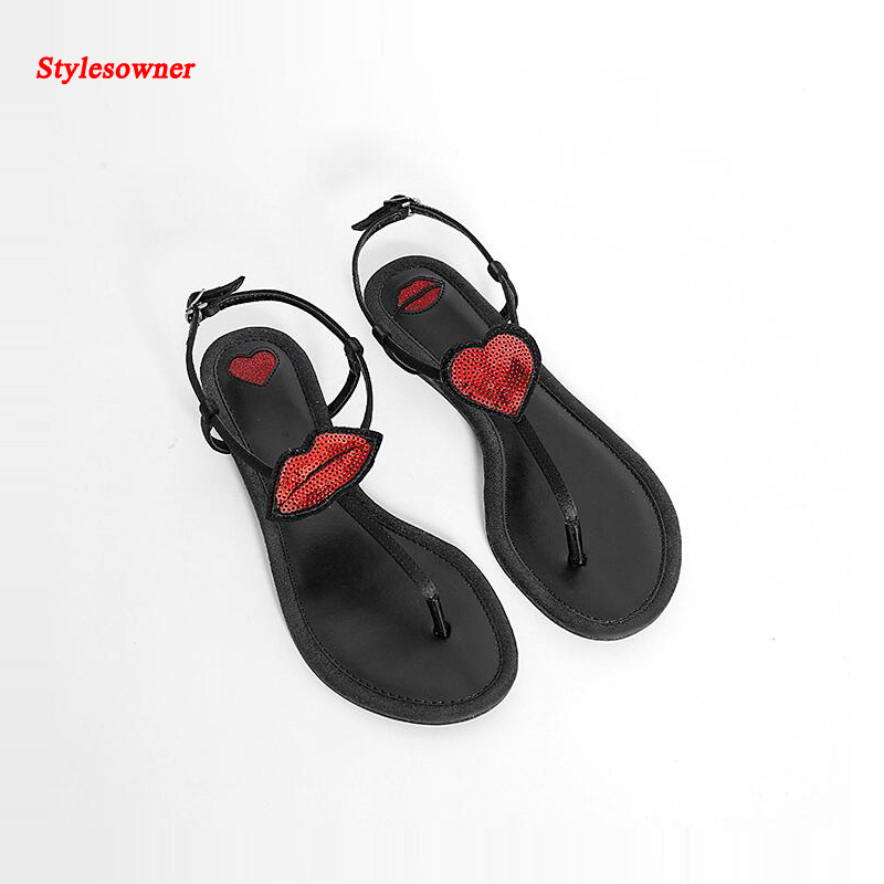 ФОТО Stylesowner Lady's Sexy Red lips women sandals Genuine leather Summer shoes flats heels Sandals slipper mujer Flashing shoes