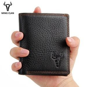 Кошелек мужской из коровьей кожи, маленький черный кошелек с отделением для ID карт, мини-кошелек для карт, тонкий кошелек на молнии с кармано...