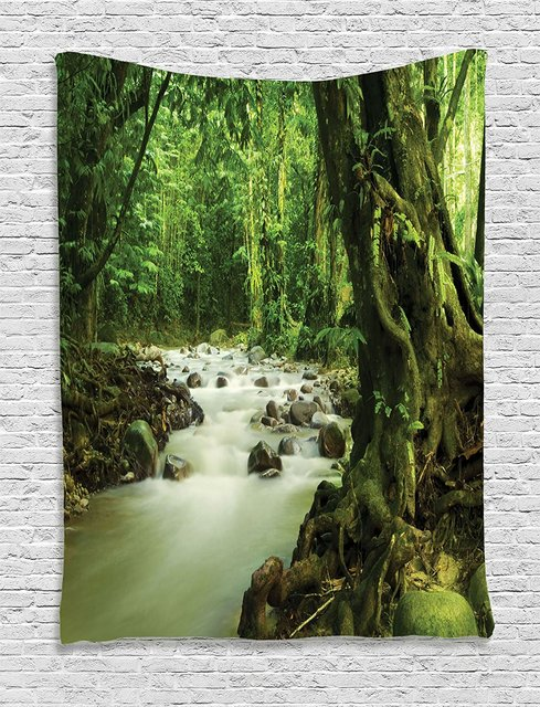Rainforest Decor Tapestry Wall Hanging Tropical And Rocky River In Selangor State Malaysia Asian Wildlife Bedroom