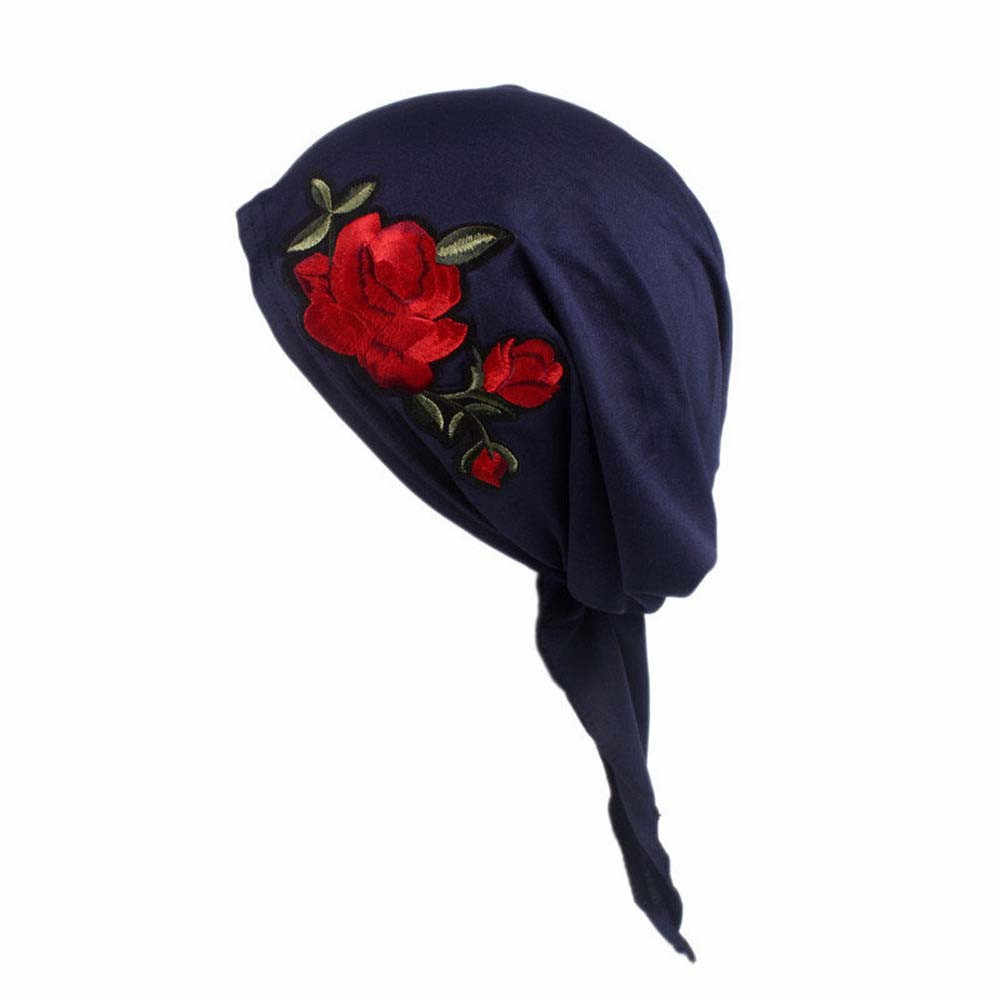 36872a0cd1a8c ... Rose Embroidery women s caps Cancer hats Chemo Hat Beanie Scarf Turban  Head Wrap Cap winter hats ...