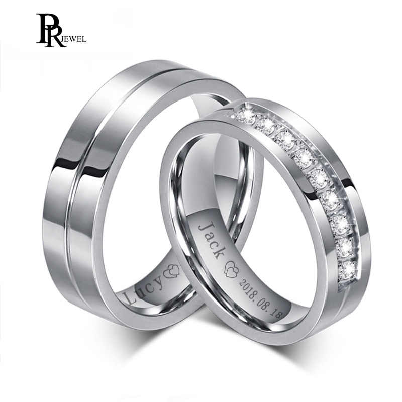Bling Cubic Zirconia Wedding Band Rings Free Engraving Record Name Date Love Info Never Fade Stainless Steel Love Alliance Gift