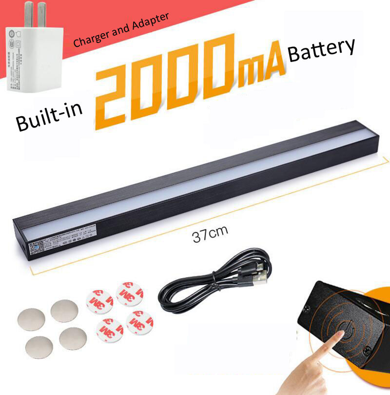 Black37cm 2000mA USB charging Magnet adsorption table lamp,Dormitories,cabinet,eye protection lamp,Stepless Dimming,freeshipping