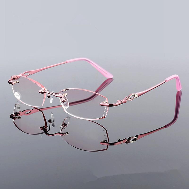 New Design Fashion Woman Style Rhinestone Rimless Reading Glasses Frame Pink Colour Women Style Presbyopia Glasses for Woman