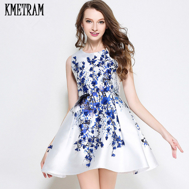 2018 Woman Red Flower Dress Mini Summer Dresses Casual Blue Floral  Sleeveless Vestidos Mujer Short Kawii f94670642580