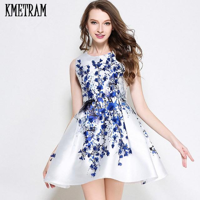 2018 Woman Red Flower Dress Mini Summer Dresses Casual Blue Floral  Sleeveless Vestidos Mujer Short Kawii Women Clothing YJZ059 dfd7629d8