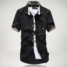 Summer New Style Men's Shirts Solid Color Short Sleeves Turn Down Collar Casual Tops chic embroidered chinese style blouses tops women summer short sleeves vintage shirts a276