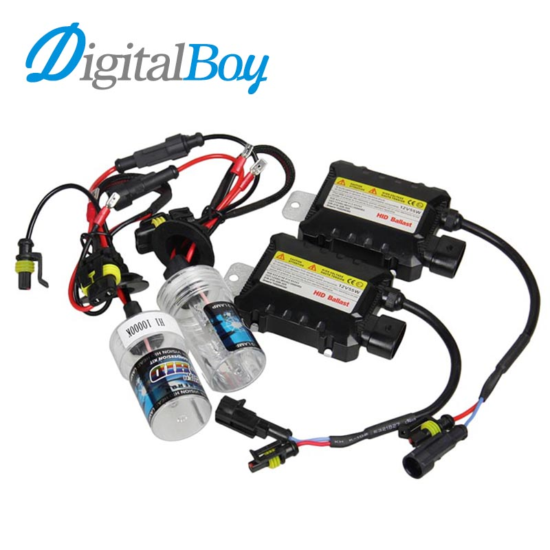 Digitalboy 12V DC 55W H1 Car Xenon HID Kit Bulb Ballast kit 5000K 6000K 8000K 10000K Auto Car Headlight Driving Lamps Source digitalboy 12v dc 35w hid h1 xenon ballast kit slim block with bulbs lights headlight 5000k 6000k 8000k car front light lamp