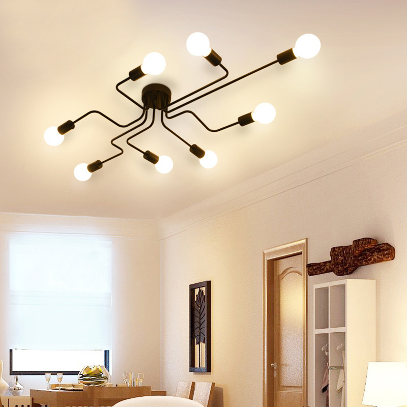 HTB1urh.XKuSBuNjSsziq6zq8pXah Oygroup Vintage Ceiling Lights For Home Lighting Luminaire Multiple Rod Wrought Iron Ceiling Lamp E27 Bulb Living Room#CL06/CL08