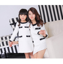 Mother daughter dresses matching mother daughter clothes family look clothing mom and daughter dress women robe 2015 autumn