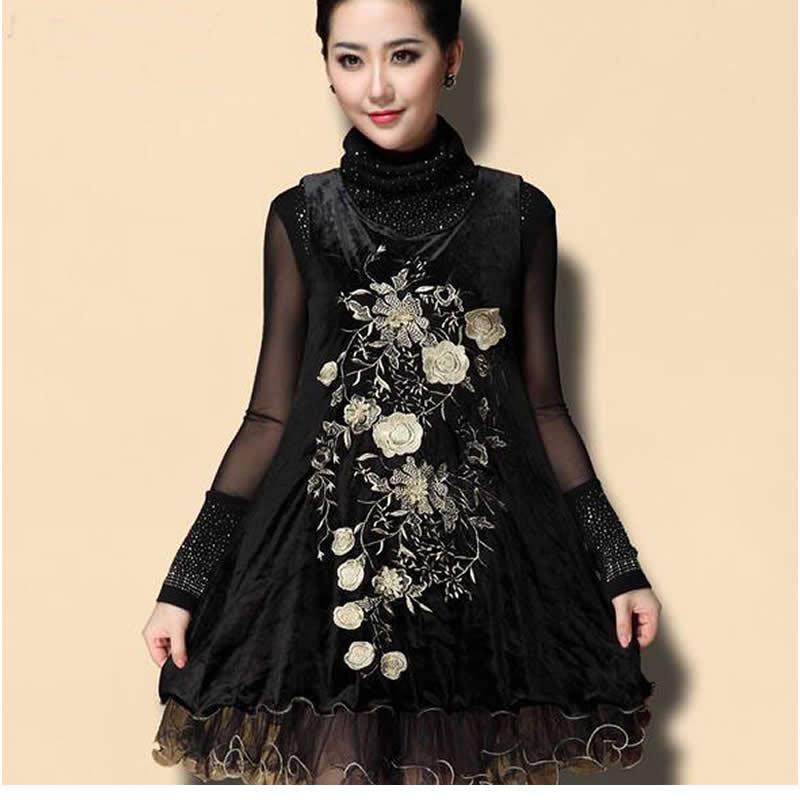 2016 Spring New High-end Vintage Turtleneck Women's Dresses Gold Velvet Floral Embroidery Women Vest Dress Plus Size 4XL