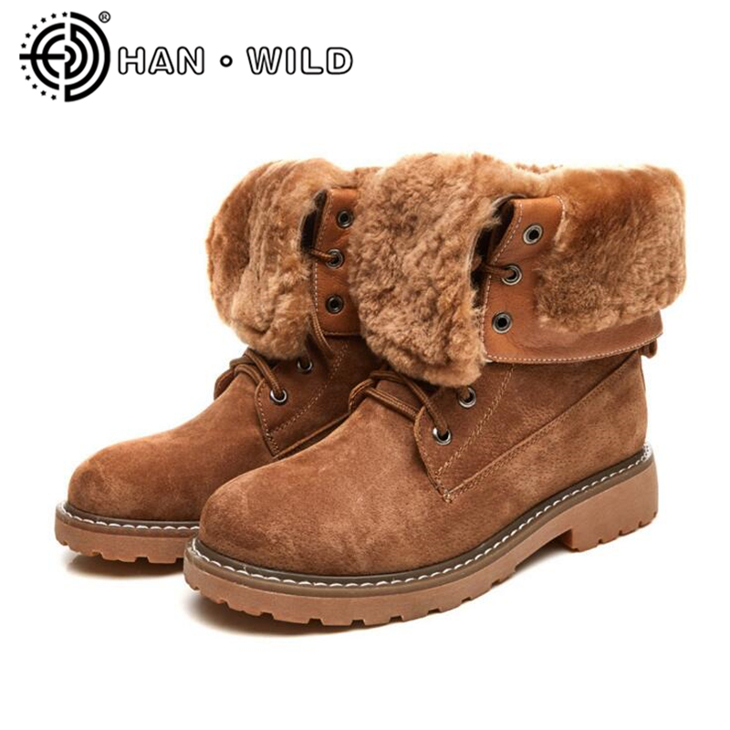 Thicken Fur Women Snow Boots Warm Long Plush Ladies Lace Up Ankle Boots 100% Genuine Leather Women Martin Boots High Quality original intention new elegant women sandals nice open toe square heels sandals black blue purple shoes woman plus us size 4 15