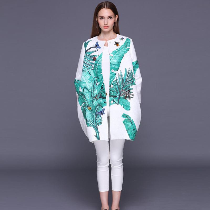 HIGH QUALITY Newest 2018 Autumn Winter Runway Designer Coat Women s Banana Leaves Print Jacquard Crystal