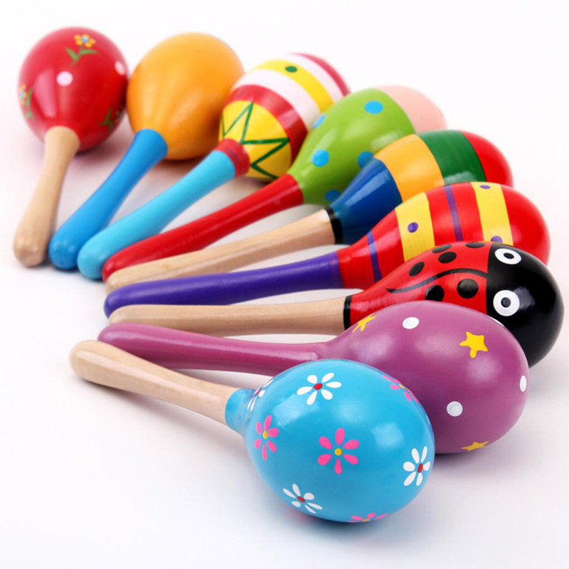 2PCS Colorful Infant Baby Wooden Toys Baby Rattle Toys Wooden Maracas Ball Wood Hammer Rattles YLT01