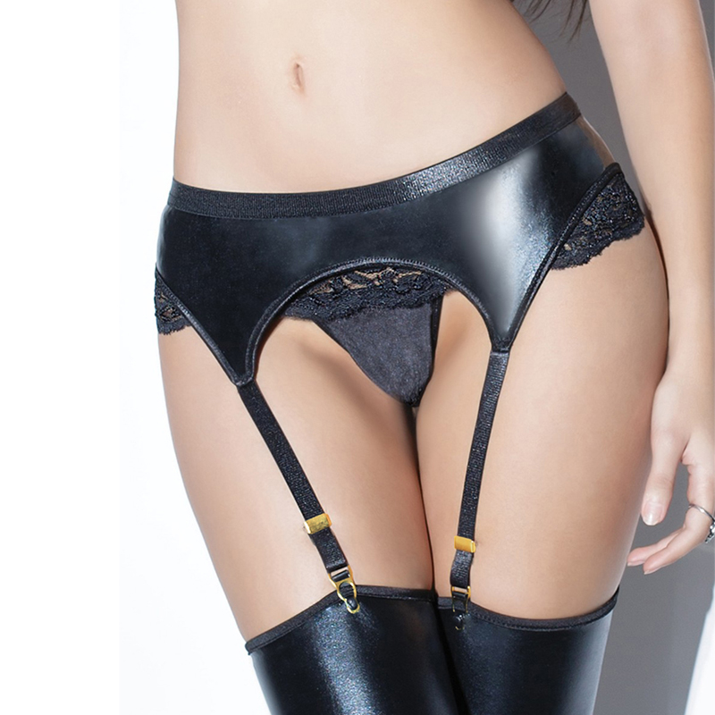 Women Plus Size Lace Garter Belt with Panty Faux Leather Floral Garter Set Black