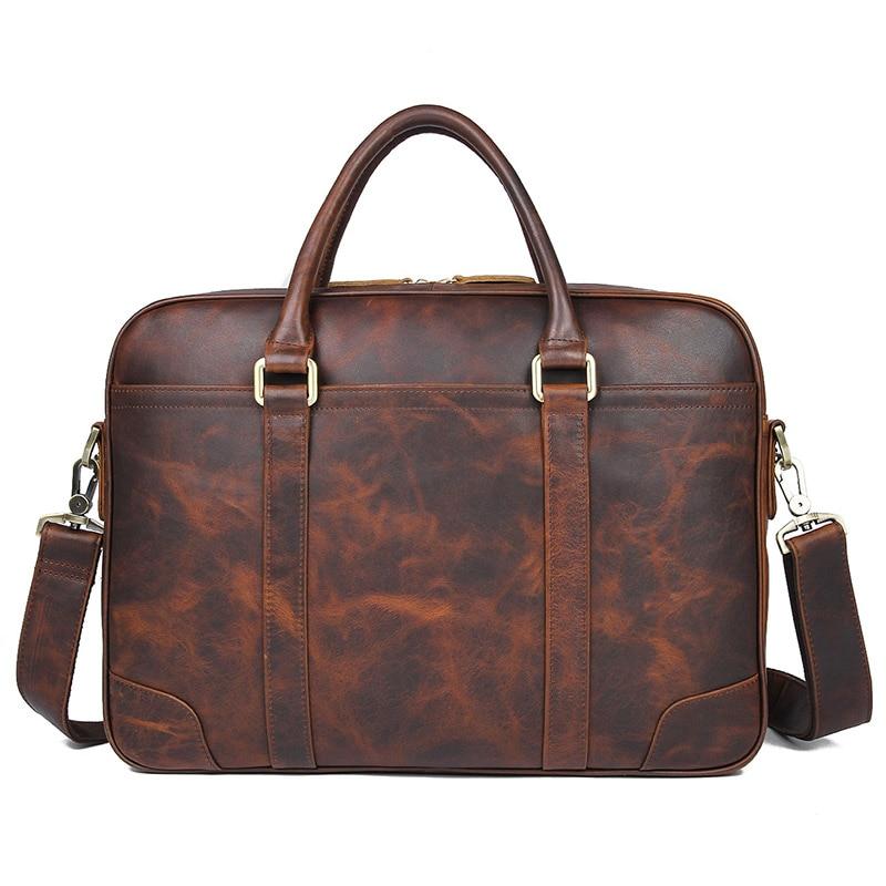 New High Quality Brown Real Leather Office Briefcase Business Handbag Travel Bag Portable Business Laptop Handbag 7349Q