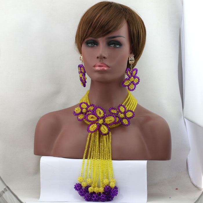 Graceful Costume African Jewelry Set Yellow/Purple Nigerian Wedding Crystal Necklace Bracelet Earrings Set Indian Bridal ALJ629