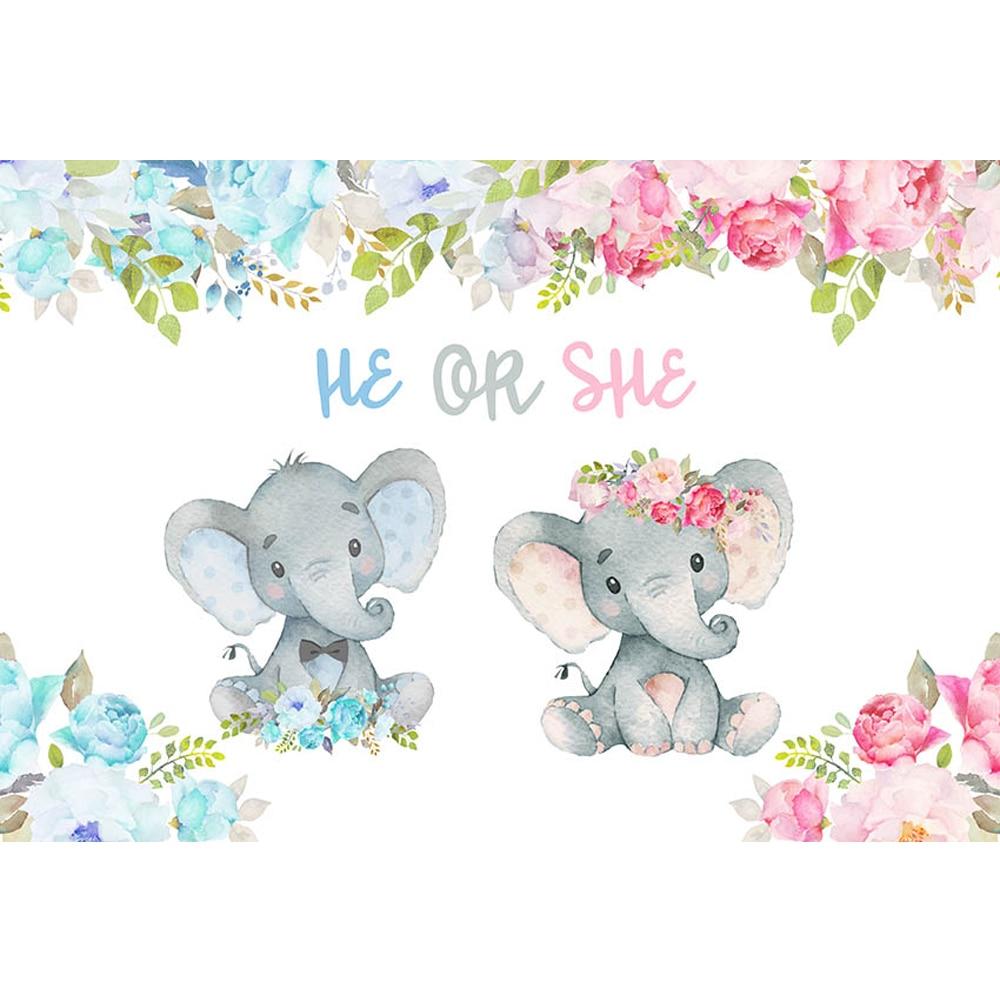 elephant baby shower boy or girl birthday background printed green