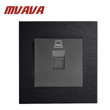 MVAVA 86*90MM Black Wooden Series Panel Computer Network Data Socket RJ45 Jack Plug Port Wall Free Shipping