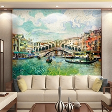 3D Wallpaper European  Venice Water town Oil Painting