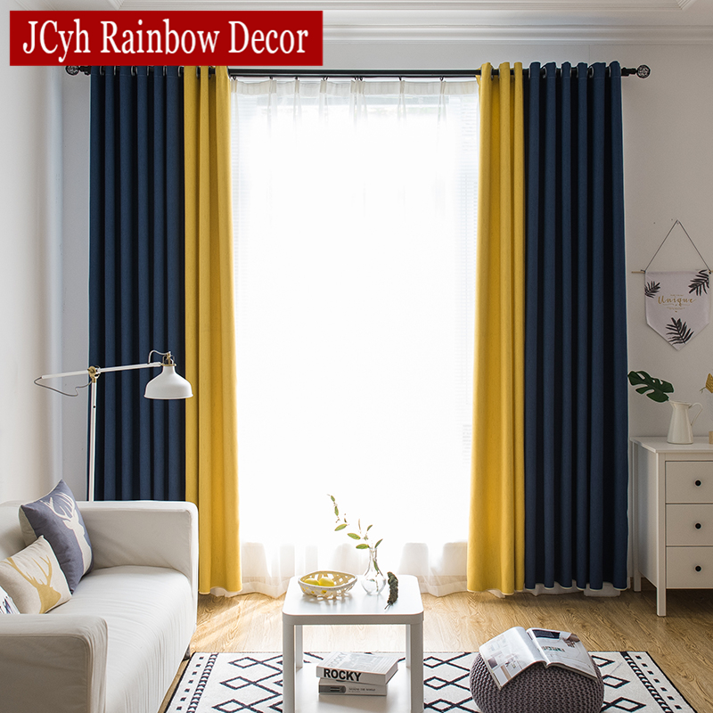 Splicing Blackout Curtains For Living Room Window Treatment Blinds Finished Drapes Modern Blackout Curtains For Bedroom Panel