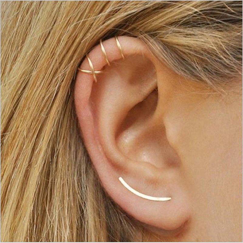 2018 Clip Earrings simple cross ear clip fake earrings Painless personality double C cartilage U-shaped double earless ear studs