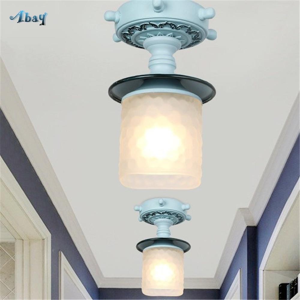 Us 69 3 30 Off Mediterranean Sea Art Deco Ceiling Lights For Living Room Bedroom Kitchen Bar Lighting Fixtures Corridor Led Gl Lamp In