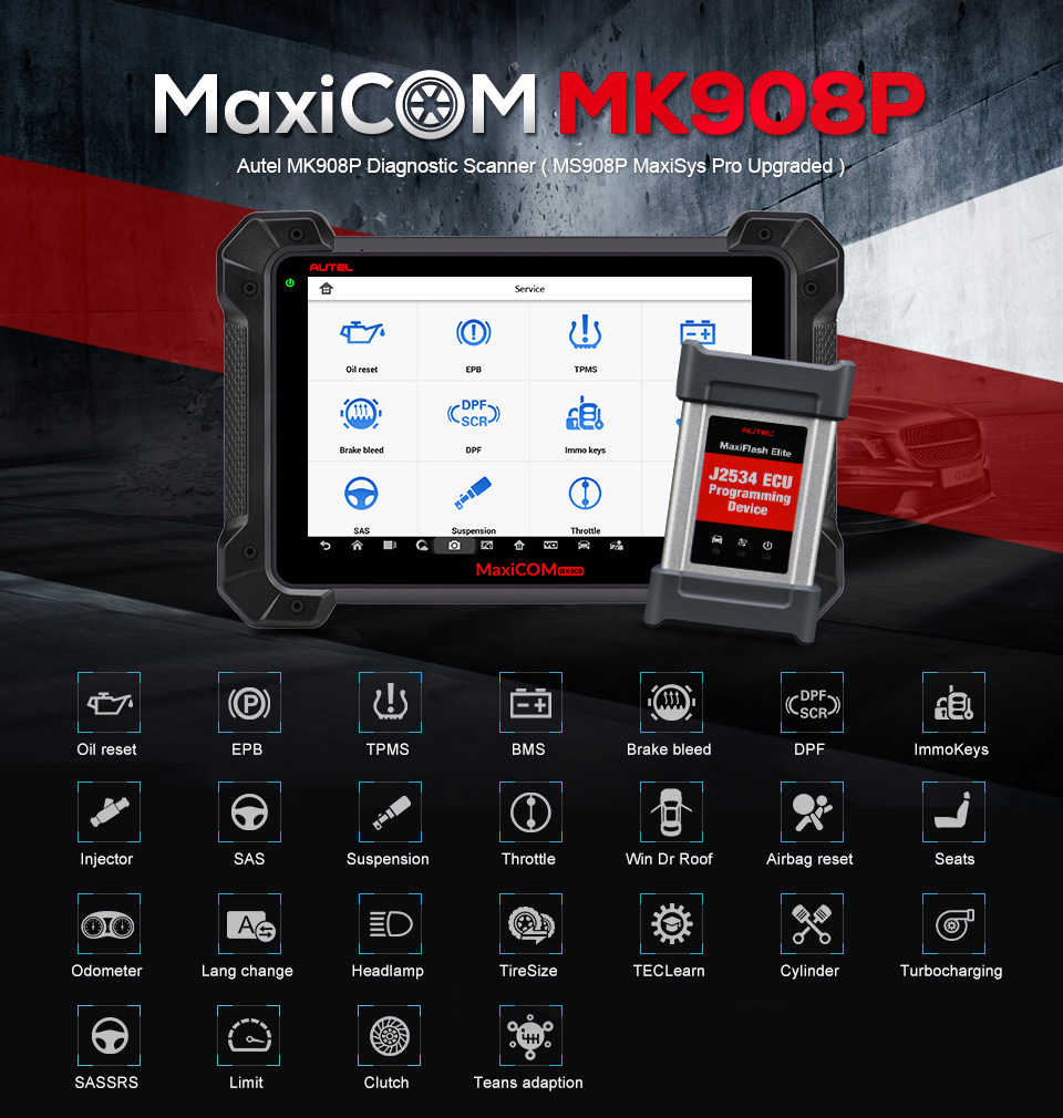 Autel MaxiCOM MK908P Professional Automotive Diagnostic Tool Car Scanner  ECU Coding J2534 Programming Update of MaxiSys MS908P