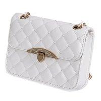 Girls Women Small Chain PU Leather Cross Handbag Shoulder Bag Totes Purse White