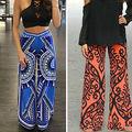 2016 New Fashion Women Long Pants Loose Elastic Waist Trousers Summer Beach Casual Pants