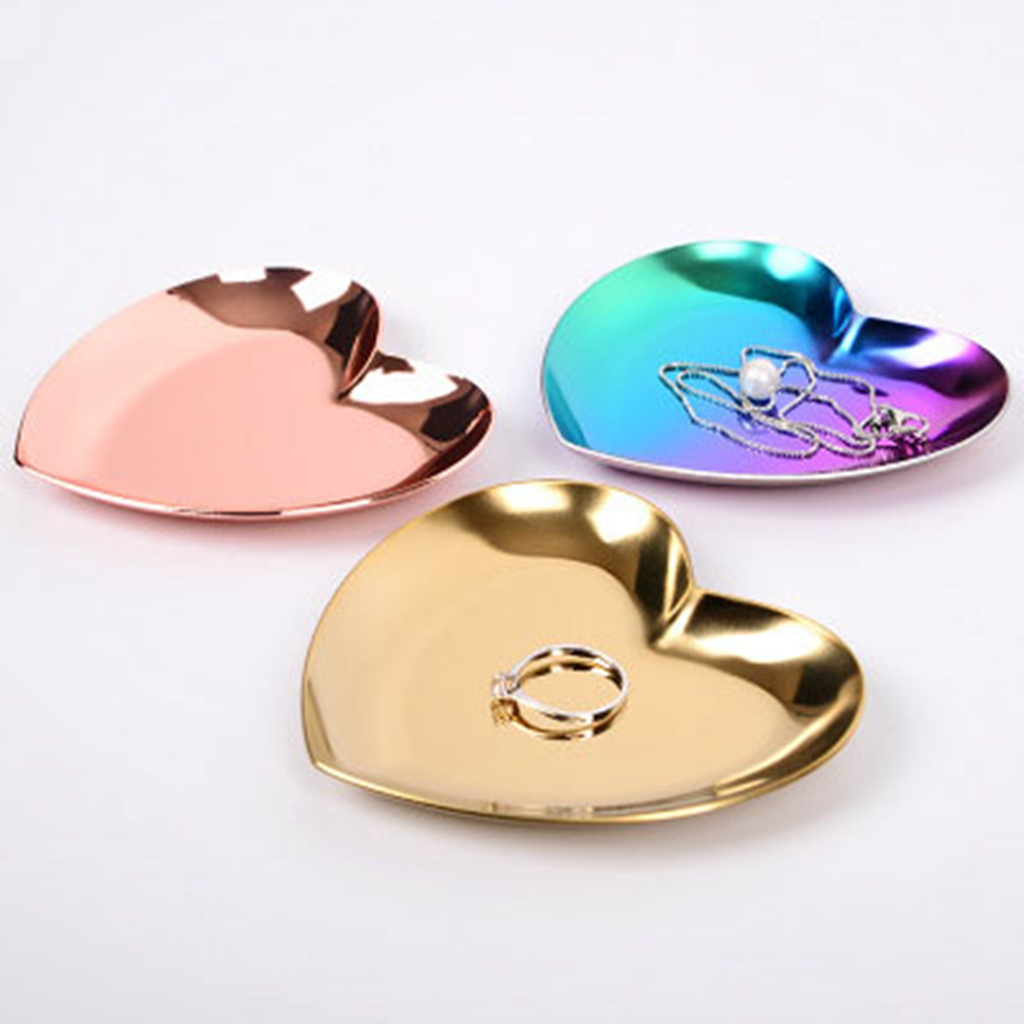 3PCS Set Gold & Bronze & Gradient Three-color Luxury Stainless Steel Heart Plate Shop Display Tray Home Storage