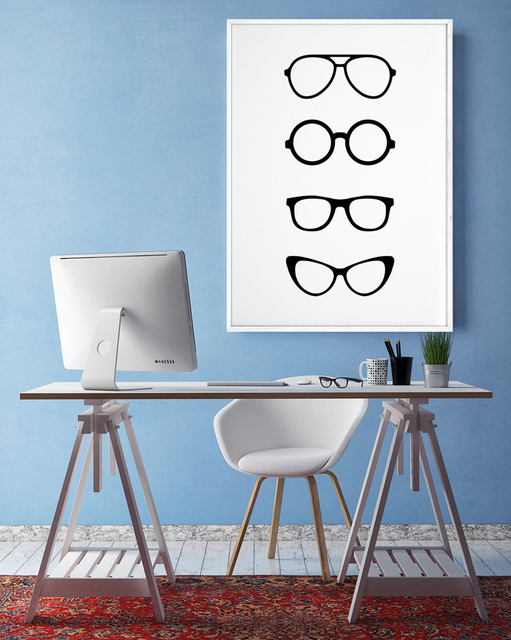 Canvas Painting Glasses Wall Art Minimalist Poster Black And White Scandinavian Paintings For Living