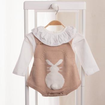 2017 Spring summer Baby Rabbit Rompers Infant Knitted Overalls Bunny Baby Jumpsuit Toddler Baby Girls Boys Clothing baby clothes