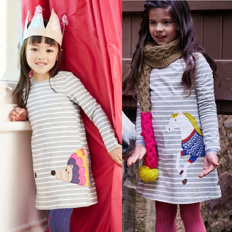 Top Quality Embroidery Girls Dress Horse Grey Stripe Blouses Baby Girl Clothes Children Jumpers Vestidos Pajamas Gown Tops Soft