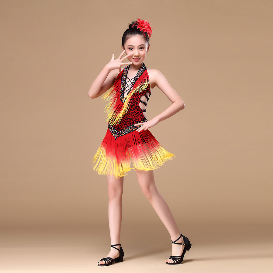 8-15 Years Performance Children Dance Outfit V-neck With Beads Backless Tassel Fringe Competition Latin Dance Dress For Girls