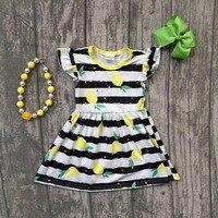 Baby Girls Summer Dress Clothing Girls Lemon Dress Children Girls Black White Stripes Dress Summer Dress