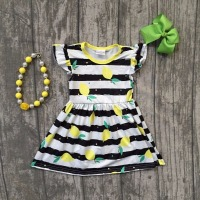 Baby Girls Summer Dress Clothing Girls Lemon Dress Children Girls Black White Stripes Dress Summer Dress