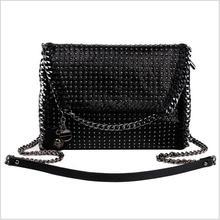 2017  Saint Girl Ladies Shoulder Bag Handbag Messenger Satchels Metal Chain Casual Black PU Rivet Bag With Skull Metal