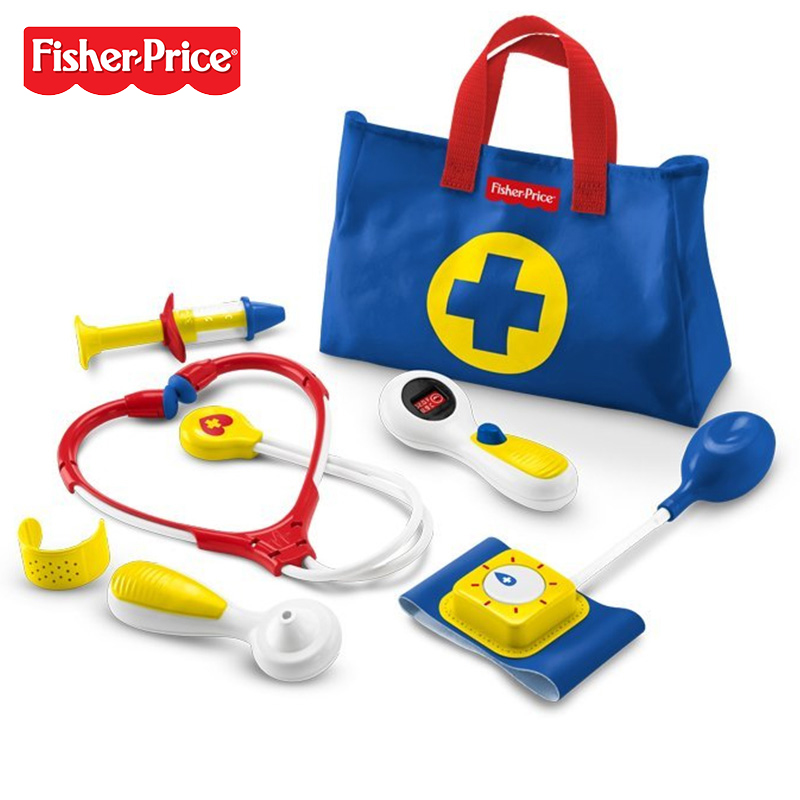 2017 Fisher Price New Style Pretend Toy Baby Doctor Medical Kit Blue Toddler Preschool Learning Toy FFY72 For Kids Gift image