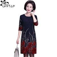 UHYTGF Korean womens spring autumn dress print pocket long sleeved Ladies dress Round neck pullover Mini plus size dresses 1263