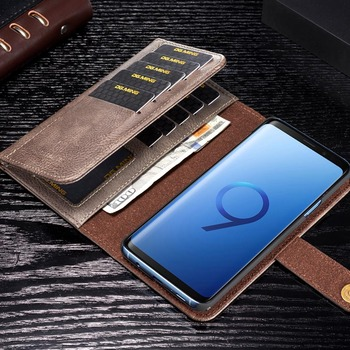 DG.MING Genuine Leather Wallet Case for Samsung Note 8 9 Business Card Holder Protective Cover for Galaxy S7 Edge S8 S9 S10 Plus