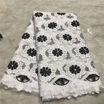 Black and White African French Tulle Net Lace Fabric with Stone Fashion Nigerian Wedding African Lace Fabrics For Dress(WDLY-219