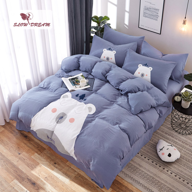 SlowDream Birthday Gift Bedding Set Blue Bed Linens Double Bedspread Duvet Cover Set Decor Cartoon Bed Set Soft Bed Sheet Set in Bedding Sets from Home Garden