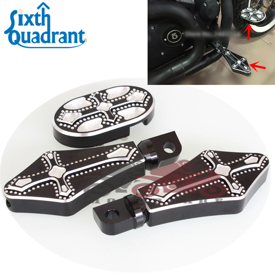 New Deep Edge Cut Foot Pegs Footrest For Harley Touring Sportster Dyna Softail