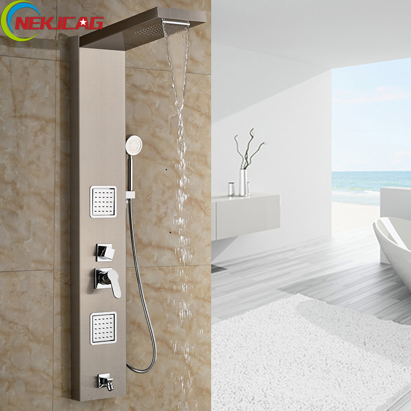 Promotion Shower Panel Brushed Color Stainless Steel Tower Shower Column Rain Waterfall Faucet Massage Jets